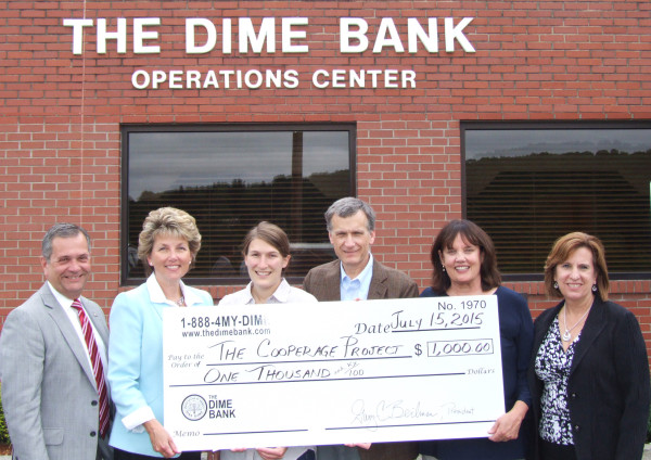 Pictured left to right: Gary Beilman, The Dime Bank President and Chief Executive Officer; Jill George, The Dime Bank Senior Vice President; Doni Hoffman, The Cooperage Project Executive Director; Edward Cremo, The Cooperage Project Chair; Pennell Whitney, The Cooperage Project Board Member; Maureen Beilman, The Dime Bank Chief Financial Officer.