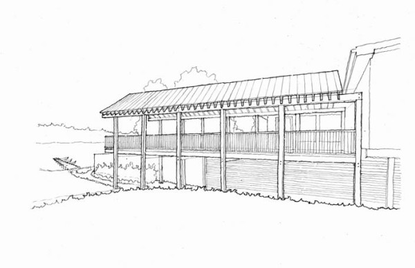 A side view of the signature feature of The Dock on Wallenpaupack, an expanded outdoor deck, which will resemble a dock.