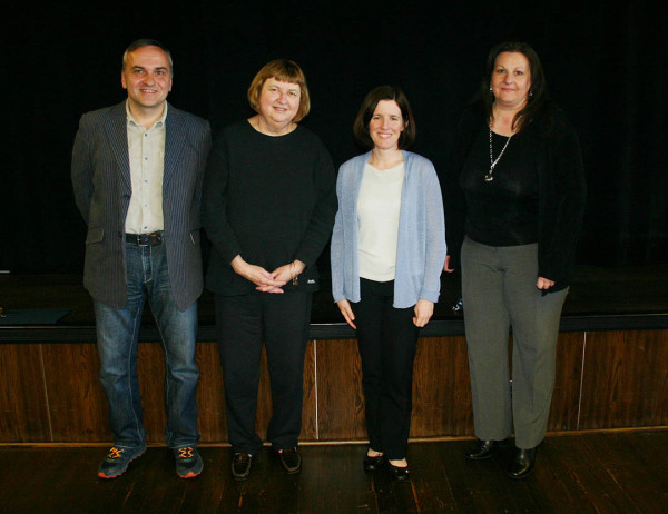 Penn State Hazleton employees honored for fifteen years of service included, from left, Frank Marko, professor of mathematics; Jane Waitkus, senior instructor in English; Elizabeth Wright, director of academic affairs; and Michele Yanuzzi, administrative support assistant.