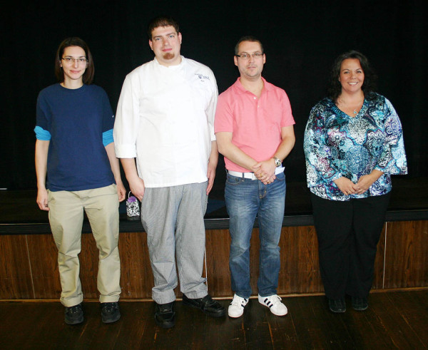 Employees celebrating five years of service at the annual luncheon were, from left, Gina Dignazio, cashier, Housing and Food Services; Neil LaGreca, food preparer; Daniel Mansson, assistant professor of communication arts and sciences; Tammy Spevak, academic adviser.