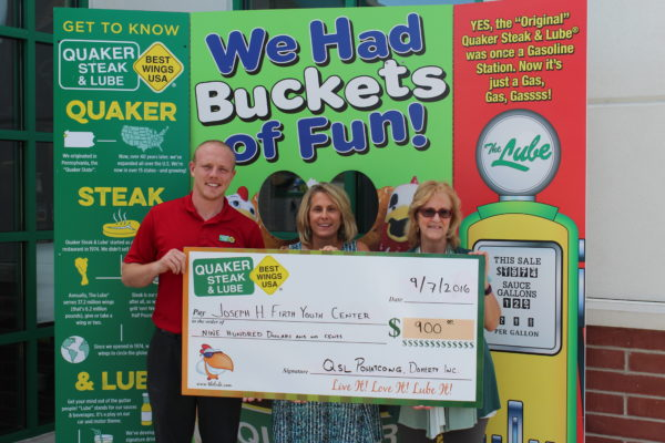 (From L to R): Nick Graf, general manager, Quaker Steak & Lube Pohatcong, Donna Schaare, board secretary, Joseph H. Firth Youth Center and Dawn L. Slifer, executive director, Joseph H. Firth Youth Center.