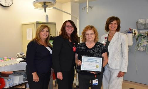 Pictured left to right: Karen Giaquinto, HR Director; Elizabeth Wise, Chief Operating Officer/Chief Nursing Officer; Marie Winter, HUC, SPU; Lynn Lansdowne, VP, Human Resources, Chief Administrative Officer