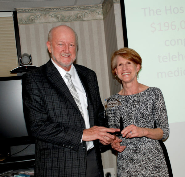 "John ""Jack"" Dennis receiving the Pennsylvania Community Rural Health Leader of the Year Award from Lisa Davis, director Pennsylvania Office of Rural Health, at Wayne Memorial Hospital"